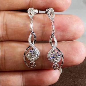 ***925 Silver Women White Sapphire drop earrings
